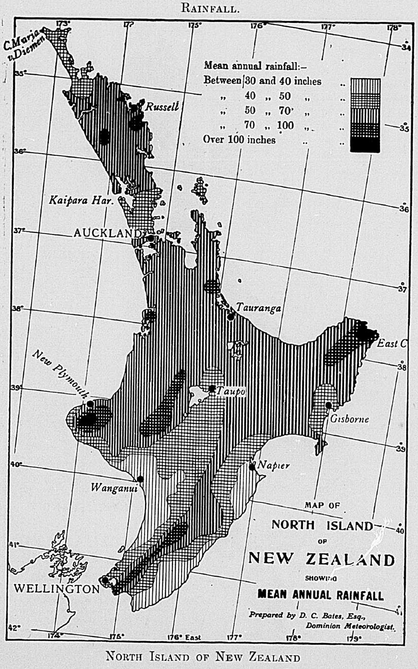 The New Zealand Official Year Book 1914 1009 Military Wiring Harness Diagram Mean Annual Rainfall Of Derived From Means Representative Stations In Various Parts Whole Country Is About 50