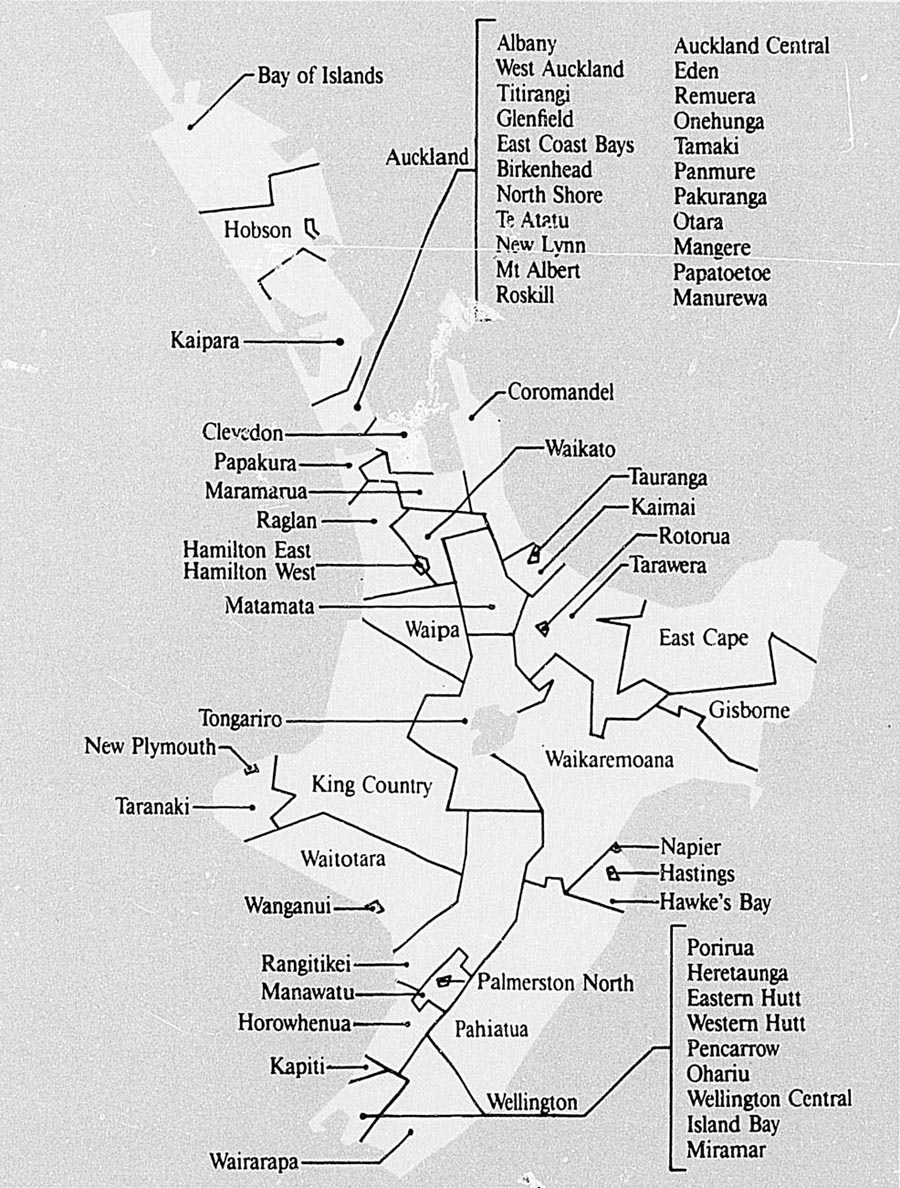 New Zealand Official Yearbook 1988 1989 Starting Circuit Diagram For The 1952 53 Nash Statesman 1987 Electoral Districts North Island